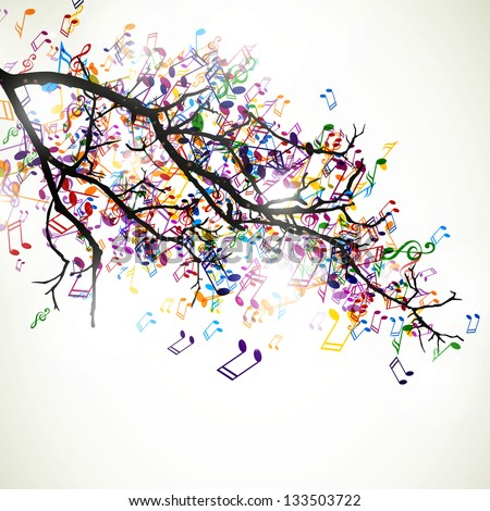 Vector Illustration of an Abstract Branch with Colorful Music Notes - stock vector