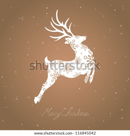 Vector Illustration of an Abstract Christmas Reindeer - stock vector