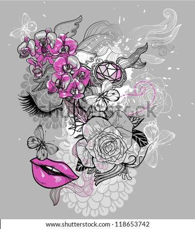 vector illustration of an abstract face and blooming flowers - stock vector