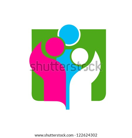 Vector illustration of an abstract family icon - stock vector