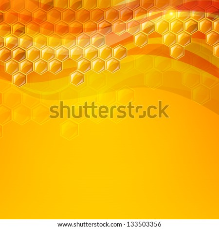 Vector Illustration of an Abstract Honey Background - stock vector