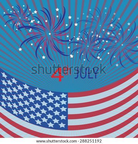 Vector Illustration of an Abstract Independence Day Background with Firework
