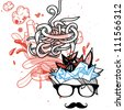 vector illustration of an abstract man with trendy mustache - stock vector