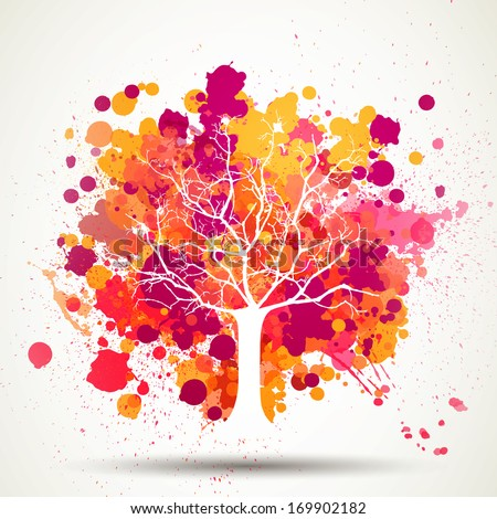 Vector Illustration of an Abstract Tree with Splashes - stock vector