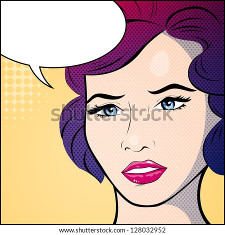 Vector Illustration of an Abstract Woman Portrait - stock vector