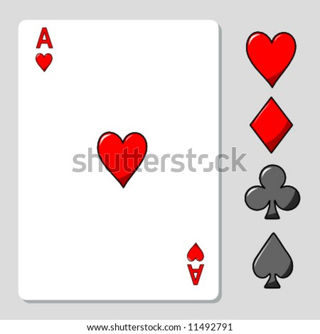 vector illustration of an ace card of hearts besides the four suits