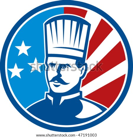 vector illustration of an American Chef cook baker with stars and stripes set inside a circle