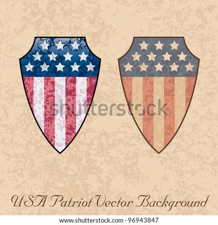 Vector illustration of an american shield. - stock vector