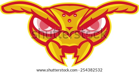 vector illustration of an angry angry hornet wasp ant insect head mascot vespa crabro on isolated white background. - stock vector