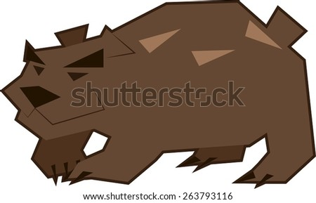 Vector illustration of an angry brown bear with black eyes