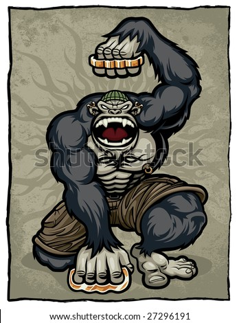 Vector illustration of an angry, screaming gorilla monkey dressed as an urban thug with body piercings, tattoos and brass knuckles. - stock vector