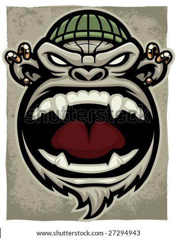 Vector illustration of an angry, screaming gorilla monkey head dressed as an urban thug. - stock vector