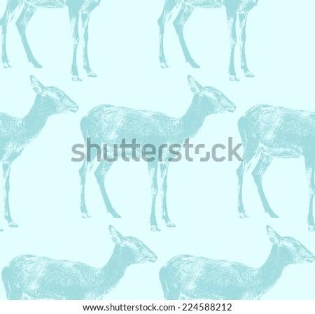 vector  illustration of an antelope. seamless animal pattern - stock vector