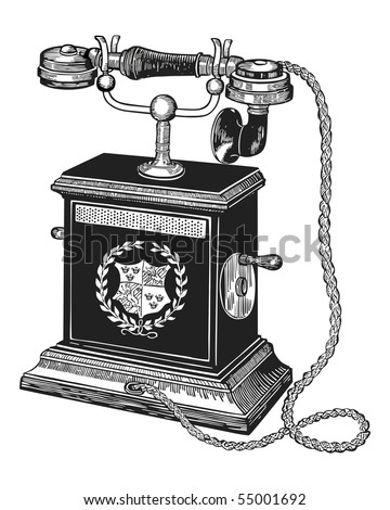 Vector illustration of an antique telephone isolated on white background