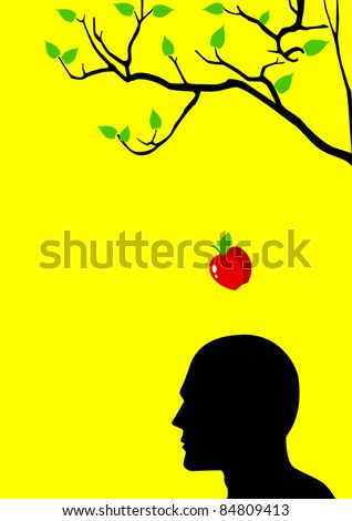 Vector illustration of an apple falling dawn to the head - stock vector
