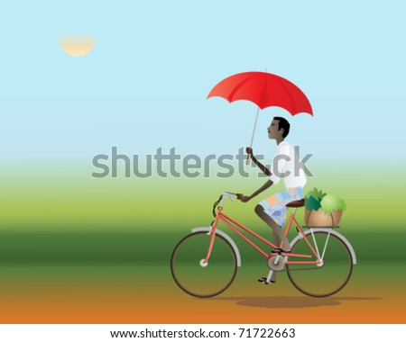 vector illustration of an asia cyclist traveling along a red dust track using a red umbrella as a parasol in eps 10 format