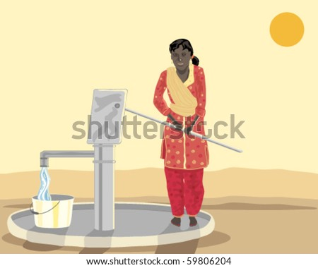 vector illustration of an asian woman dressed in traditional salwar kameez drawing water from a modern well - stock vector