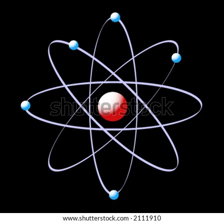 vector illustration of an atom on a black background - stock vector