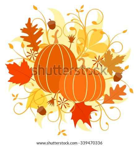 Vector illustration of an autumn design with pumpkins, leaves and acorns.