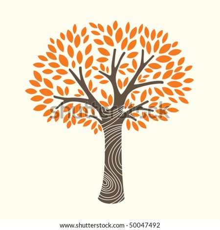 vector illustration of an autumn tree - stock vector