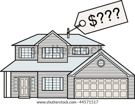 Vector illustration of an average american house with price tag