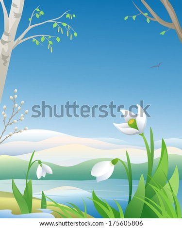 Vector illustration of an early spring morning - stock vector