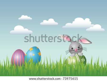 Vector illustration of an Easter landscape with three colorful Easter eggs. A smiling Easter bunny is holding one of the eggs.