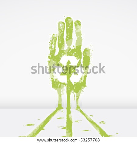 Vector illustration of an ecological concept with a hand splatter leaking dye down a wall. Recycling symbol in the middle. - stock vector
