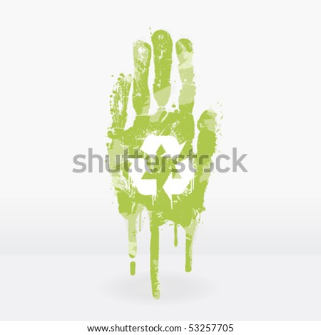 Vector illustration of an ecological concept with a hand splatter with paint drops. Recycling symbol on the palm. - stock vector