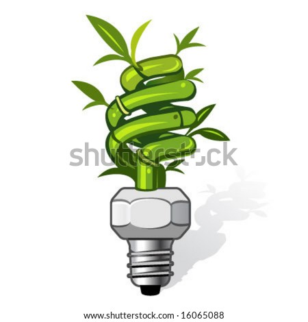 vector illustration of an ecological lamp. Can be used for eco related concepts. PATH included - stock vector