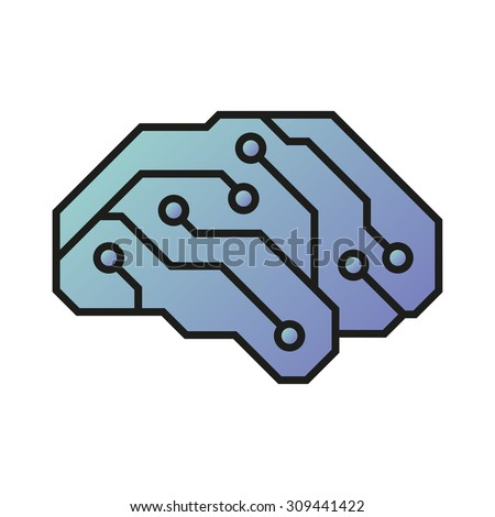 Vector illustration of an electric circuit forming a brain shape