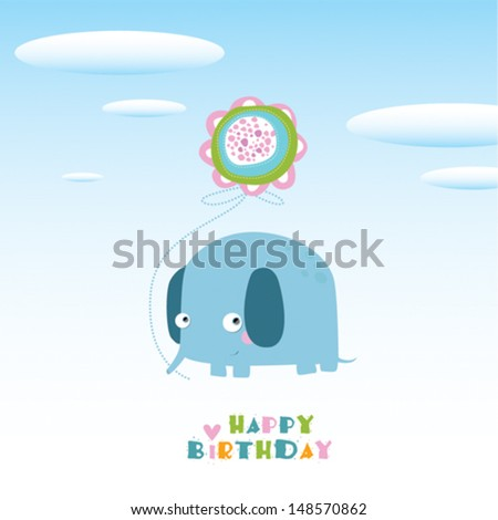 Vector illustration of an elephant. Happy birthday. - stock vector