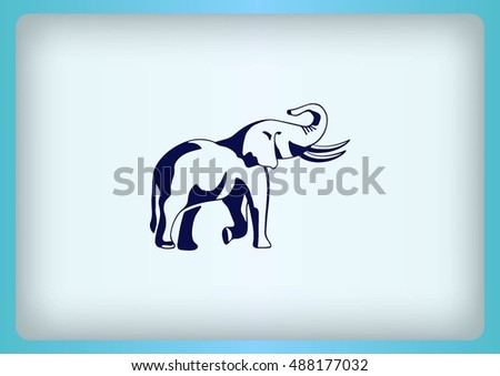 Vector illustration of an elephant's head. Large, dangerous beast. Logo, graphics elephant.