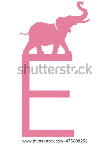 Vector Illustration of an Elephant.The Letter E is for Elephant.