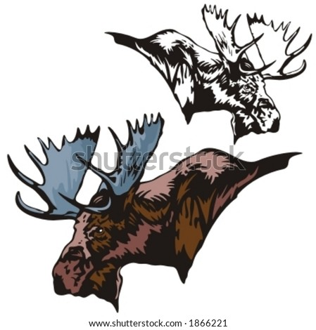 Vector illustration of an elk. - stock vector
