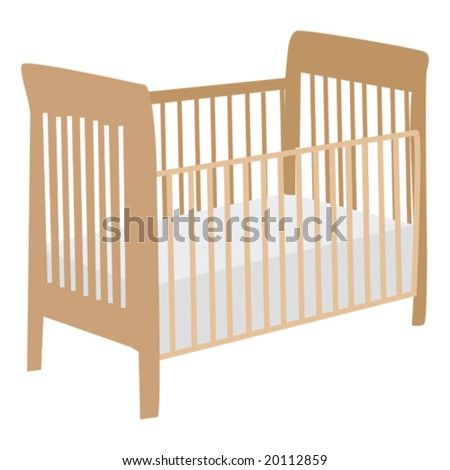 Vector illustration of an empty wooden baby crib