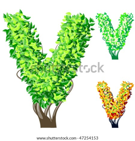 Vector illustration of an extra detailed tree alphabet symbols. Easy detachable crown. character v
