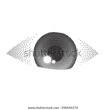 Vector illustration of an eye. Pointillism. Grey eye. White and black colors - stock vector