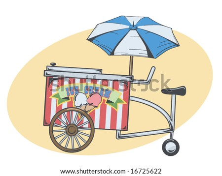 vector illustration of an ice cream cart - stock vector