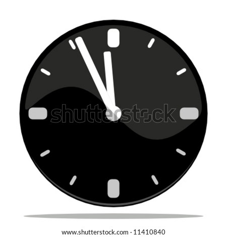 vector illustration of an icon of a clock with shadow