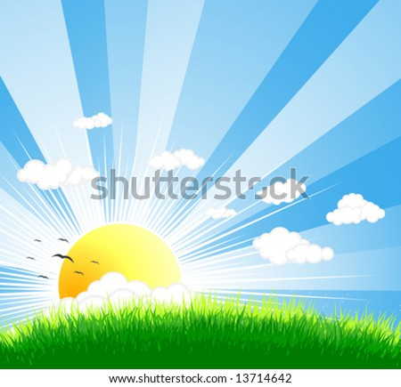 Vector illustration of an idyllic sunny nature background with a blue gradient stripes sky, birds, green grass layers of grass and romantic sky. - stock vector