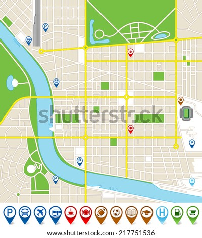 Vector illustration of an imaginary city map with cute marker icons. All elements are isolated on different layers for ease of editing.