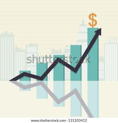 Vector illustration of an increasing graphic bar statistics. - stock vector