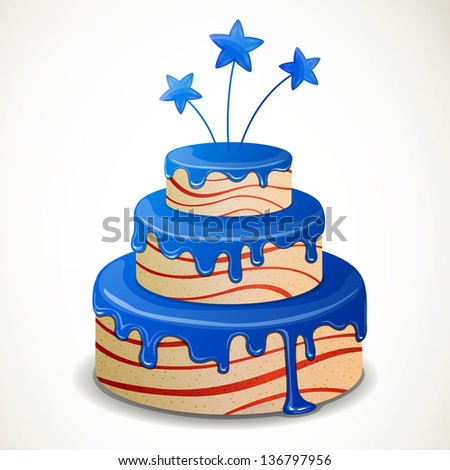 Vector Illustration of an Independence Day Cake - stock vector