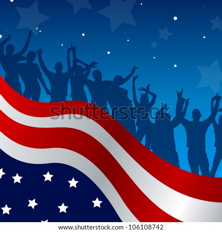 Vector illustration of an independence day celebration card with dancing people - stock vector
