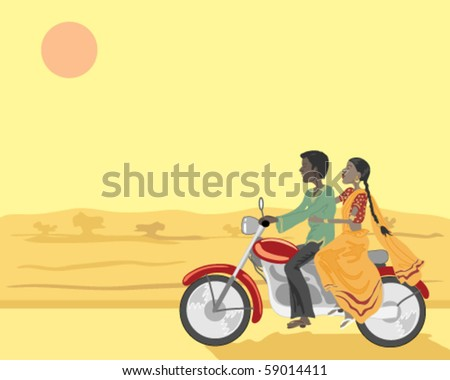 vector illustration of an indian couple riding a motorbike under the setting sun