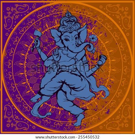 Vector illustration of an Indian god - Ganesha - stock vector