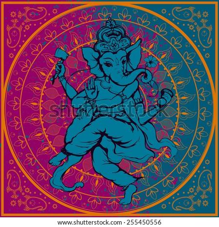 Vector illustration of an Indian god - Ganesha purple - stock vector
