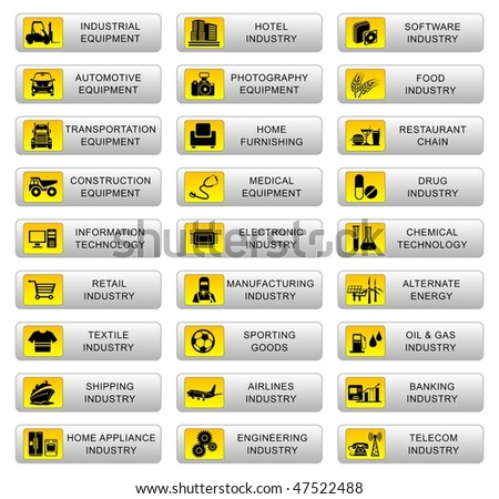 Vector illustration of an Industrial button set - stock vector