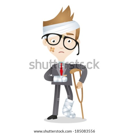 Vector illustration of an injured cartoon businessman in bandages and with crutches. - stock vector